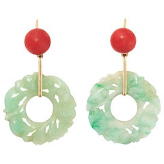 Pair of Jadeite Jade and Coral Earrings, Early 20th Century
