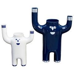 Pair of Jaime Hayon Contemporary White and Blue Glazed Happy Susto Vase