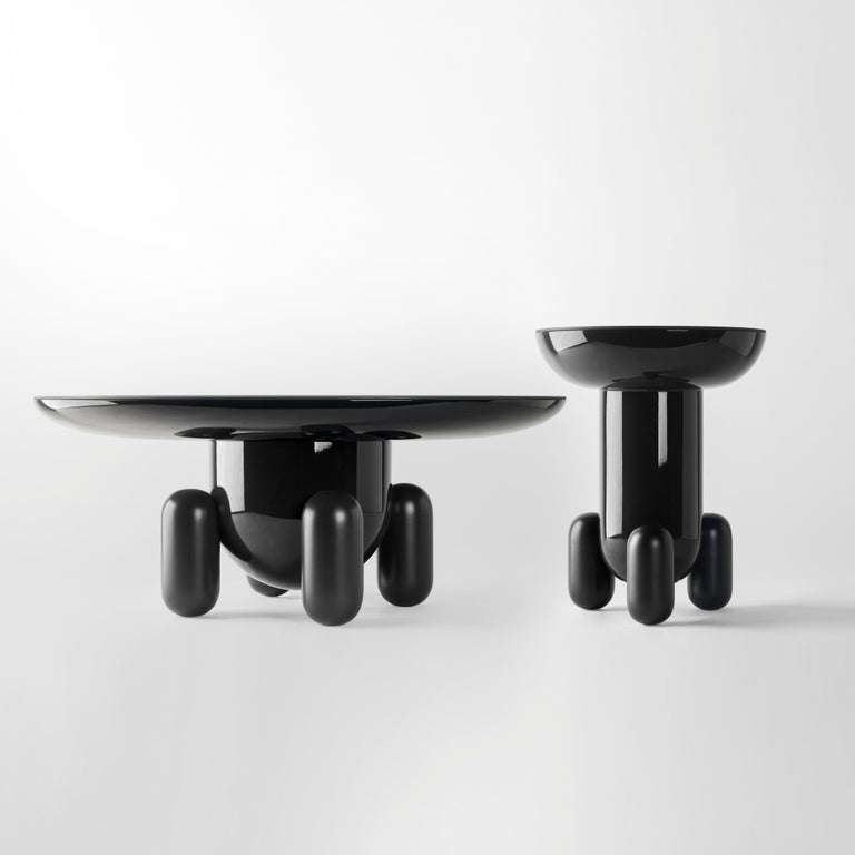 Glass Pair of Jaime Hayon Dark Grey Explorer #03 & #01 Tables by BD Barcelona For Sale