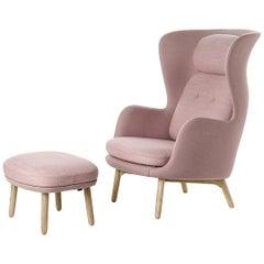 Pair of Jaime Hayon Model Ro Jh2 Lounge Chairs, Oak Base, Grey Wool Upholstery