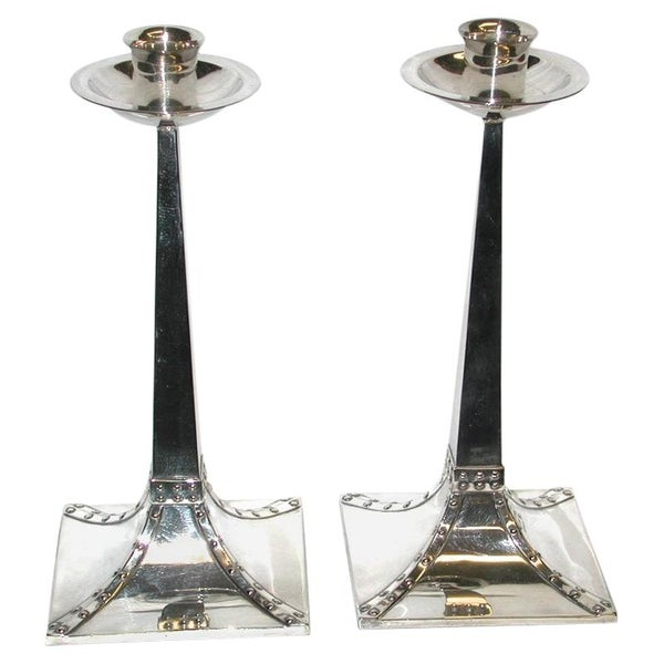 Pair of James Dixon Silver Plated Arts & Crafts Candlesticks Dated, circa 1910
