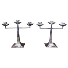 Pair of James Dixon & Sons Three-Branch Silver Arts & Crafts Candelabra