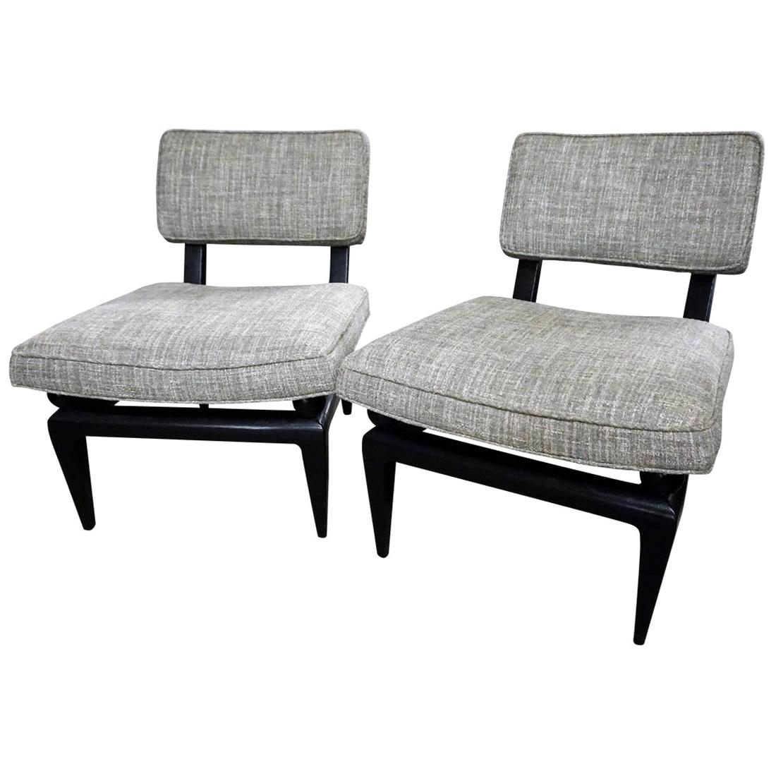 Pair of James Mont Bench Made Slipper Chairs