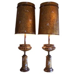Pair of James Mont Camouflaged Silver and Gold Table Lamps