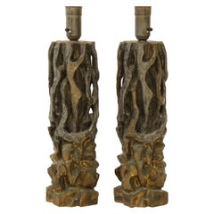 Pair of James Mont Carved Wooden Lamps