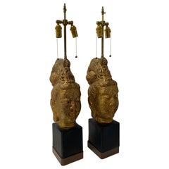 Pair of James Mont Gold Buddha Lamps for Stiffel Lighting