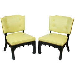 Pair of James Mont Green Leather Chairs