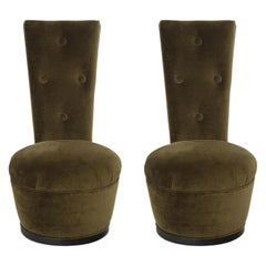 Pair of James Mont Green Velvet Chairs