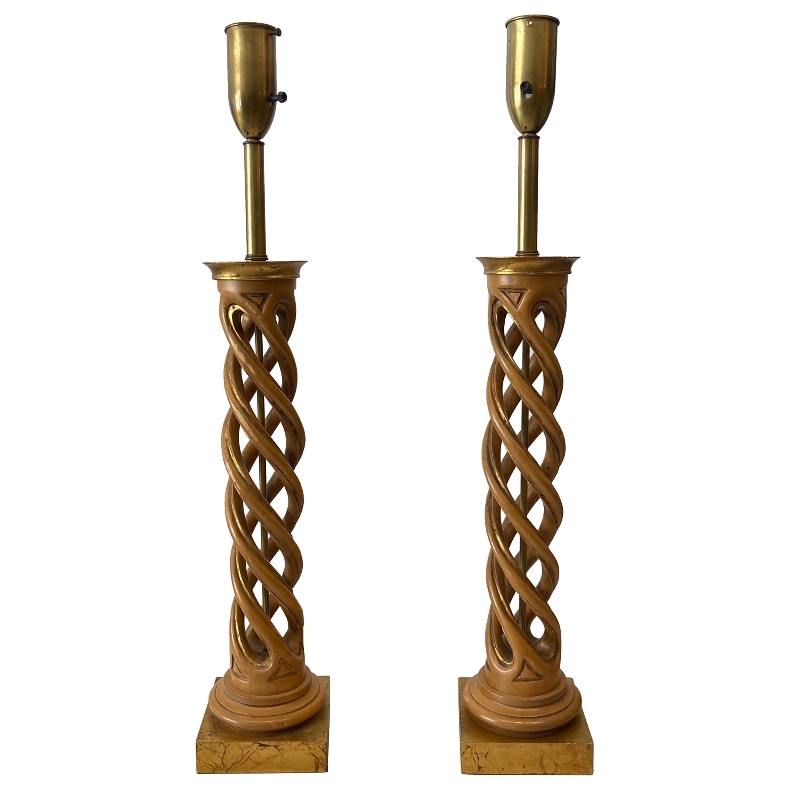 Pair of James Mont Helix Table Lamps
