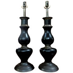 Pair of James Mont Inspired Brass and Leather Lamps
