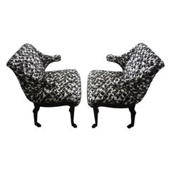Pair of James Mont Inspired Ebonized Chairs with Hoof Feet