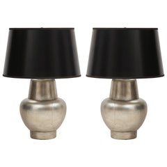 Pair of James Mont Silver Leafed Lamps