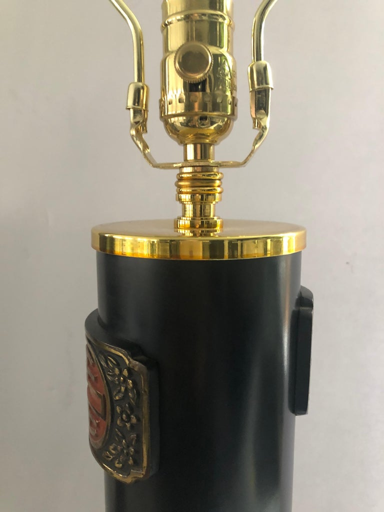 Pair of James Mont Style Asian Modern Table Lamps In Good Condition For Sale In Hopewell, NJ
