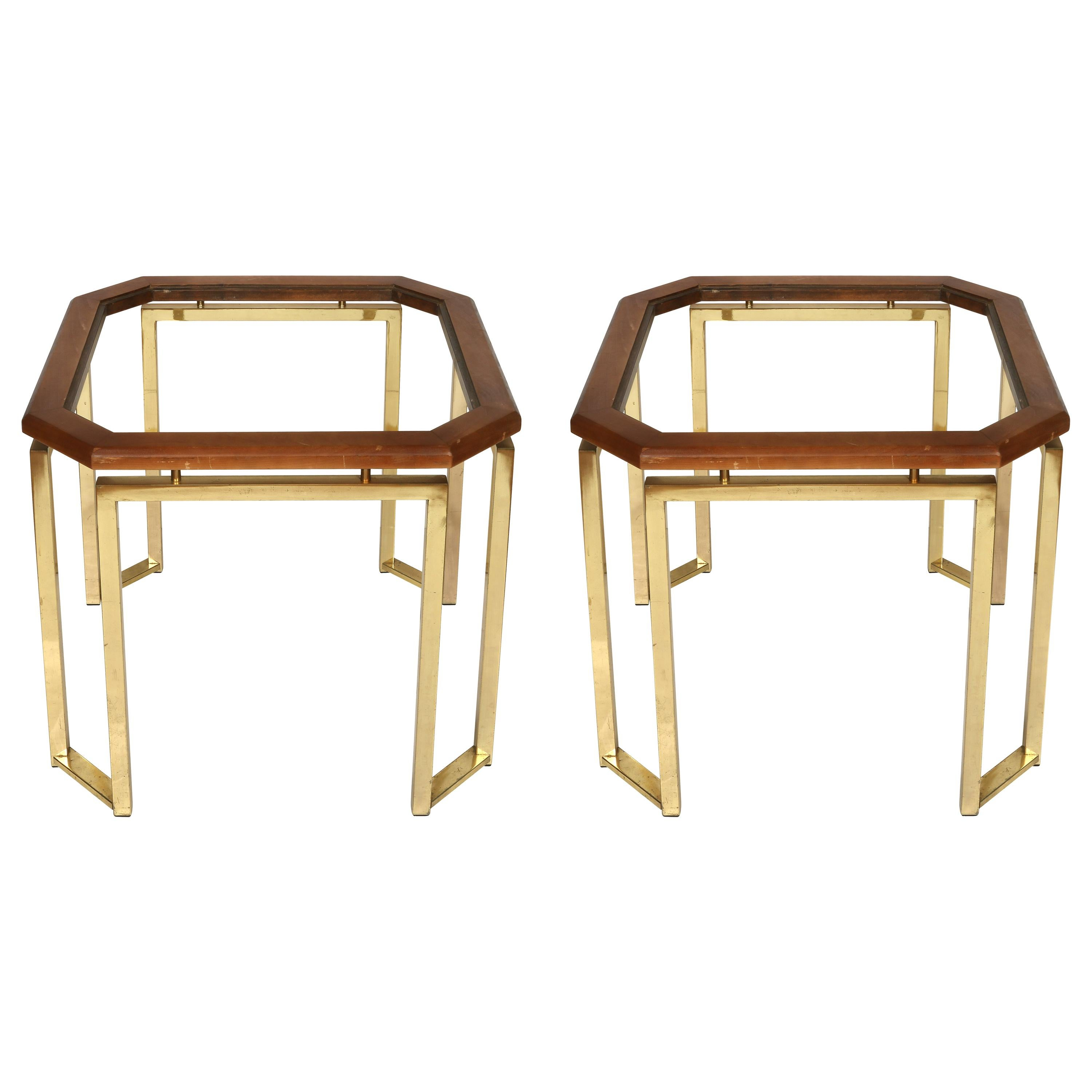 Pair of James Mont Style Brass and Wood Side Tables