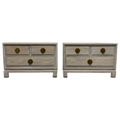 Pair of James Mont Style Cerused Oak Chests