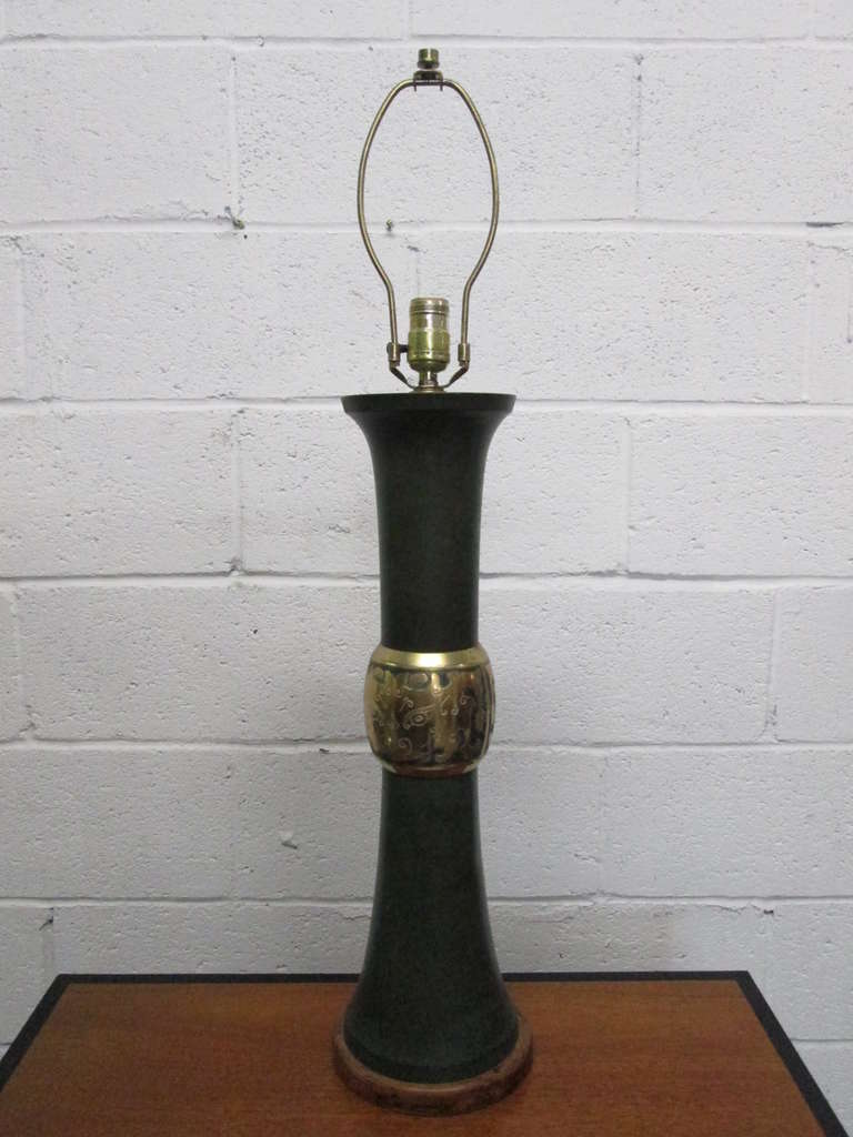 Wood Pair of James Mont Style Lamps For Sale