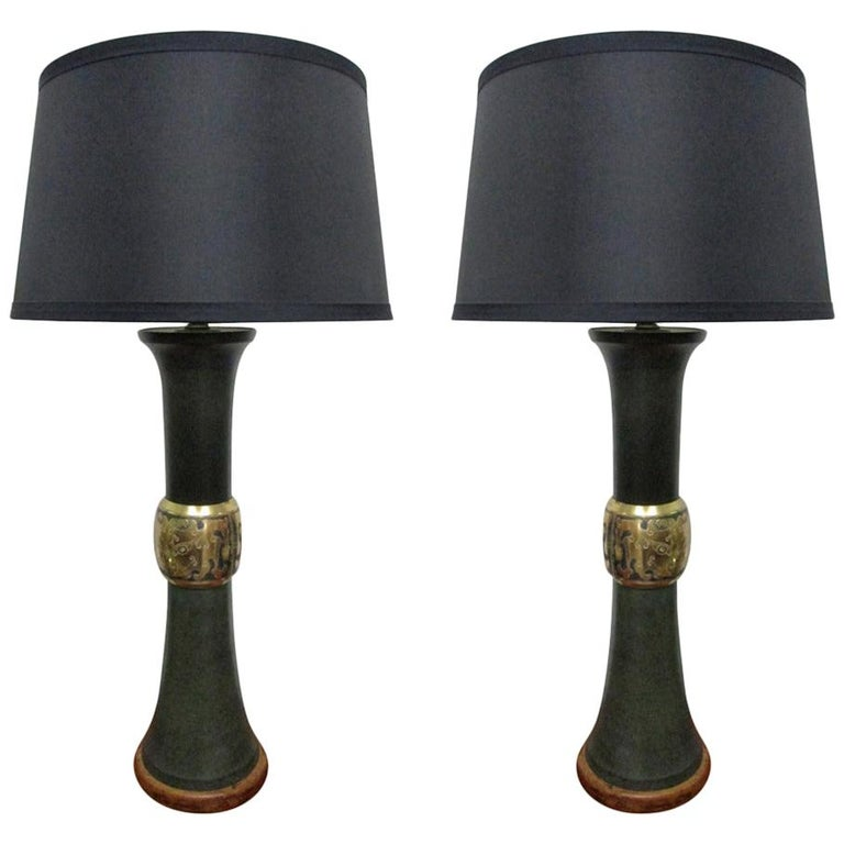 Pair of James Mont Style Lamps For Sale
