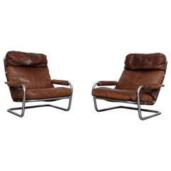 Pair of Jan Des Bouvrie Well Loved Oberman Lounge Chairs