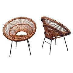 Pair of Janine Abraham & Dirk Jan Rol Sunburst Rattan Chairs, 1950s
