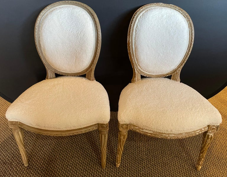 Hollywood Regency Pair of Jansen Distressed Sherpa Upholstered Side Chairs For Sale