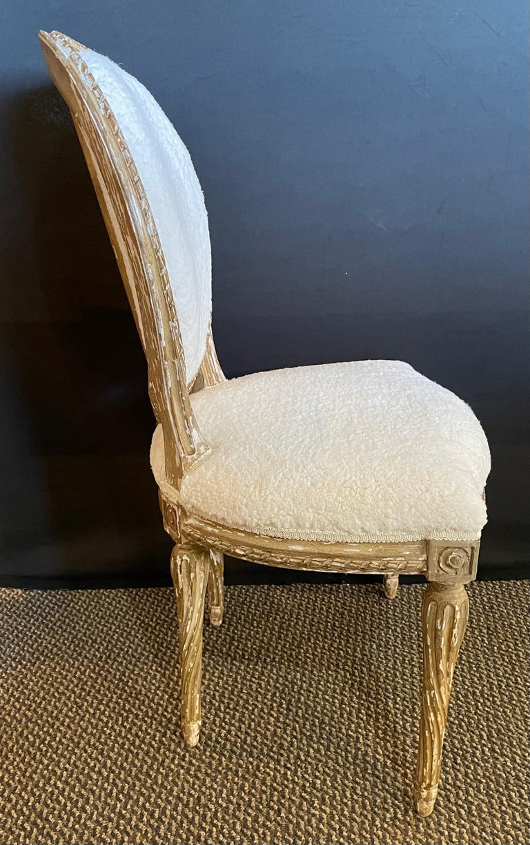 Wood Pair of Jansen Distressed Sherpa Upholstered Side Chairs For Sale