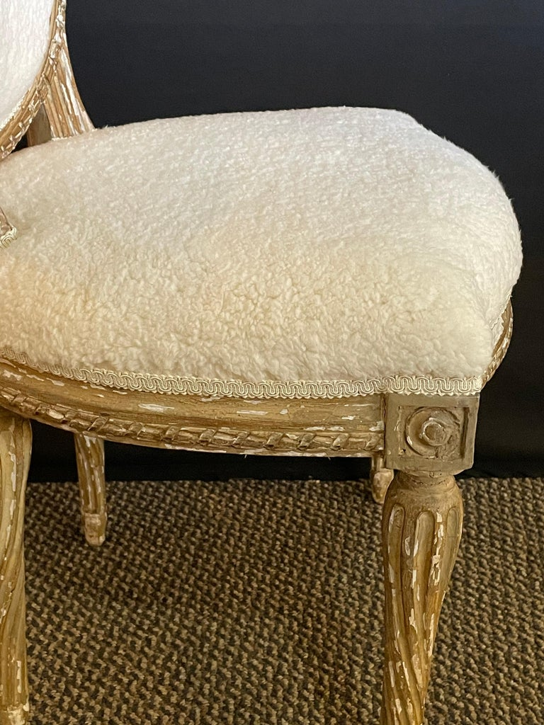 Pair of Jansen Distressed Sherpa Upholstered Side Chairs In Good Condition For Sale In Stamford, CT