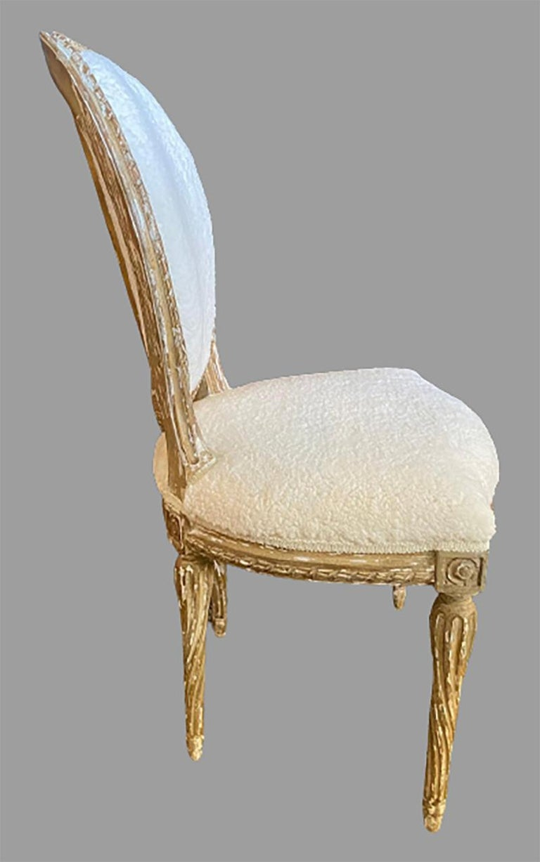 French Pair of Jansen Distressed Sherpa Upholstered Side Chairs For Sale