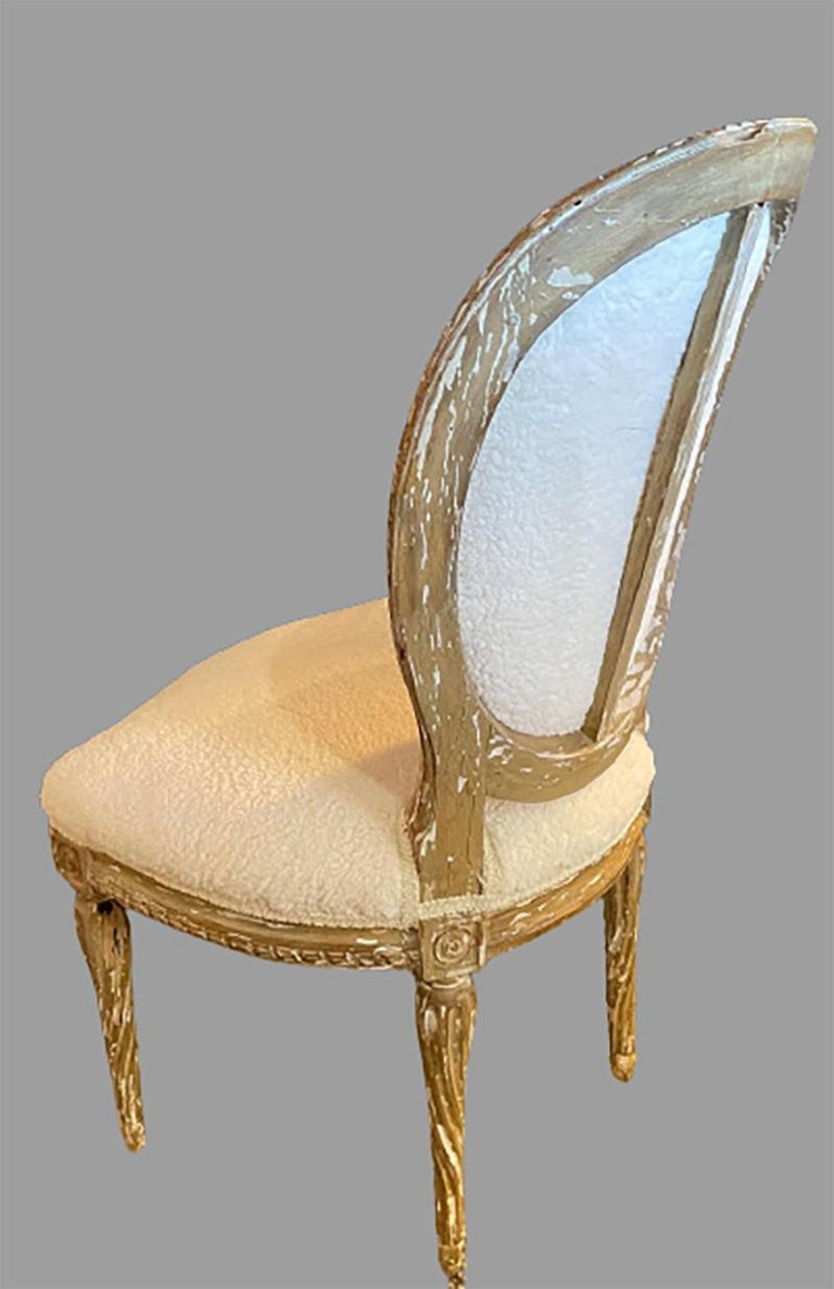20th Century Pair of Jansen Distressed Sherpa Upholstered Side Chairs For Sale