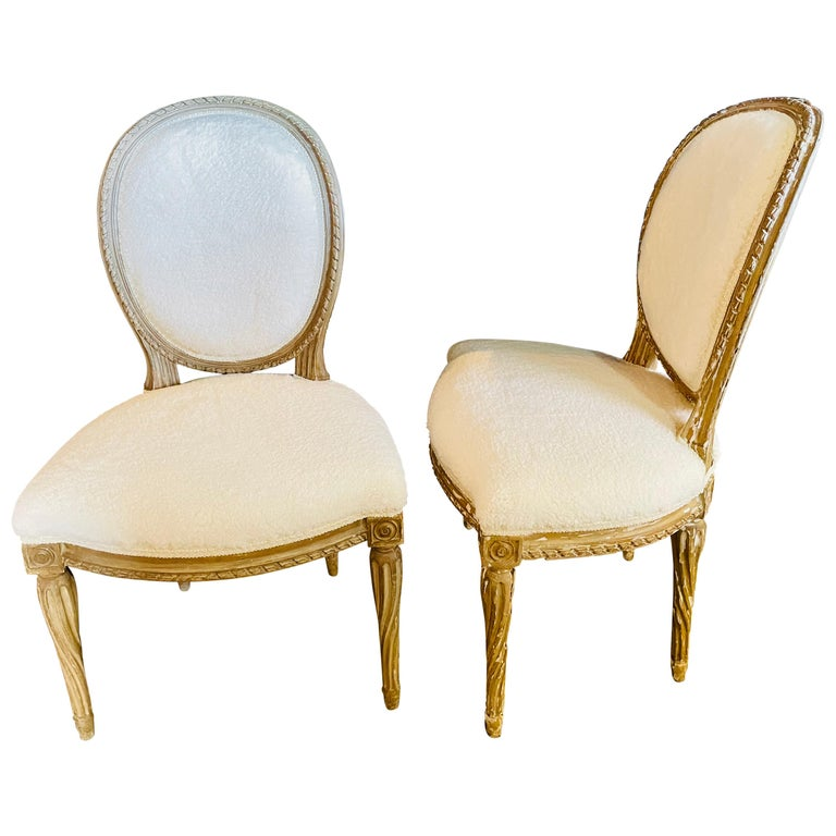 Pair of Jansen Distressed Sherpa Upholstered Side Chairs For Sale