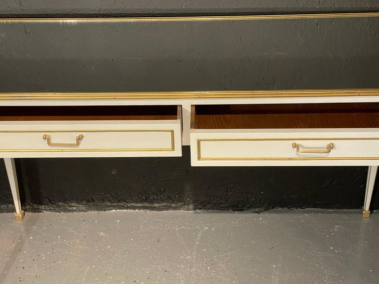 Pair of Jansen Hollywood Regency Style Console / Sofa Tables, Mirrored & Painted For Sale 7