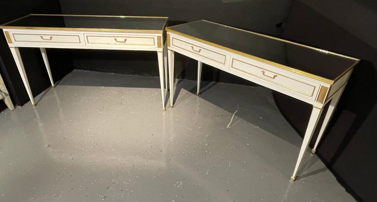 Pair of Jansen Hollywood Regency Style Console / Sofa Tables, Mirrored & Painted In Good Condition For Sale In Stamford, CT