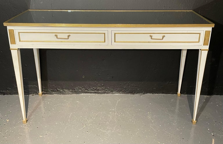 20th Century Pair of Jansen Hollywood Regency Style Console / Sofa Tables, Mirrored & Painted For Sale
