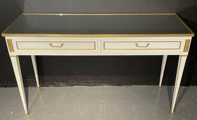 Bronze Pair of Jansen Hollywood Regency Style Console / Sofa Tables, Mirrored & Painted For Sale