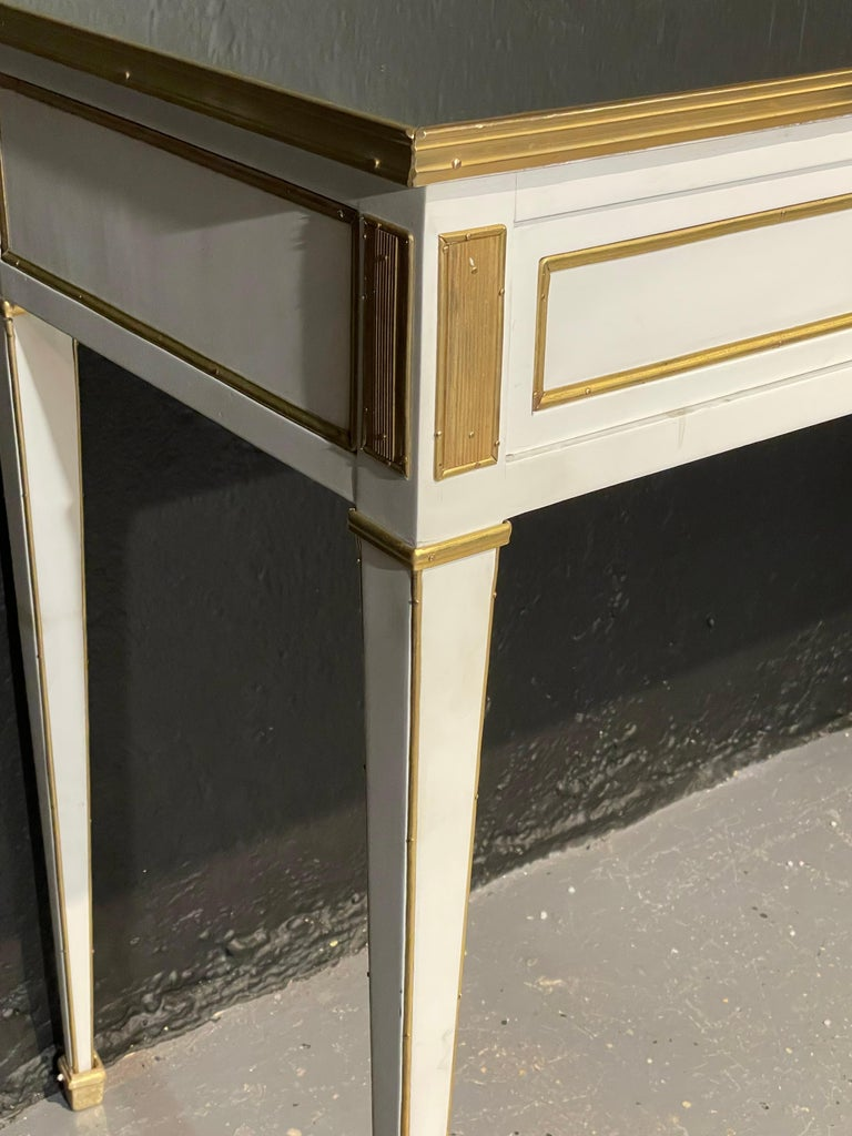 Pair of Jansen Hollywood Regency Style Console / Sofa Tables, Mirrored & Painted For Sale 4