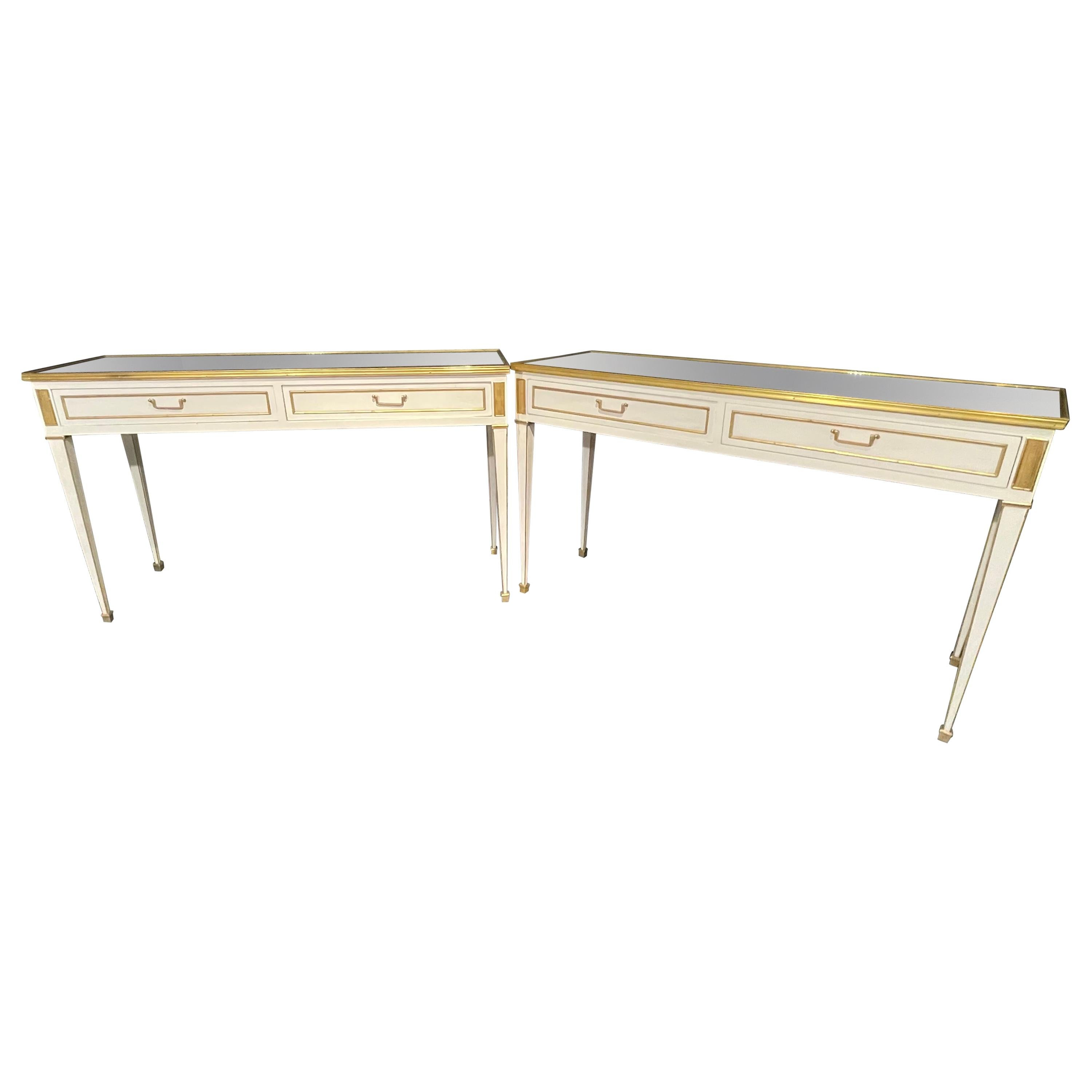 Pair of Jansen Hollywood Regency Style Console / Sofa Tables, Mirrored & Painted