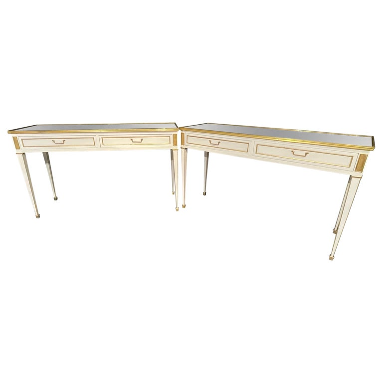 Pair of Jansen Hollywood Regency Style Console / Sofa Tables, Mirrored & Painted For Sale