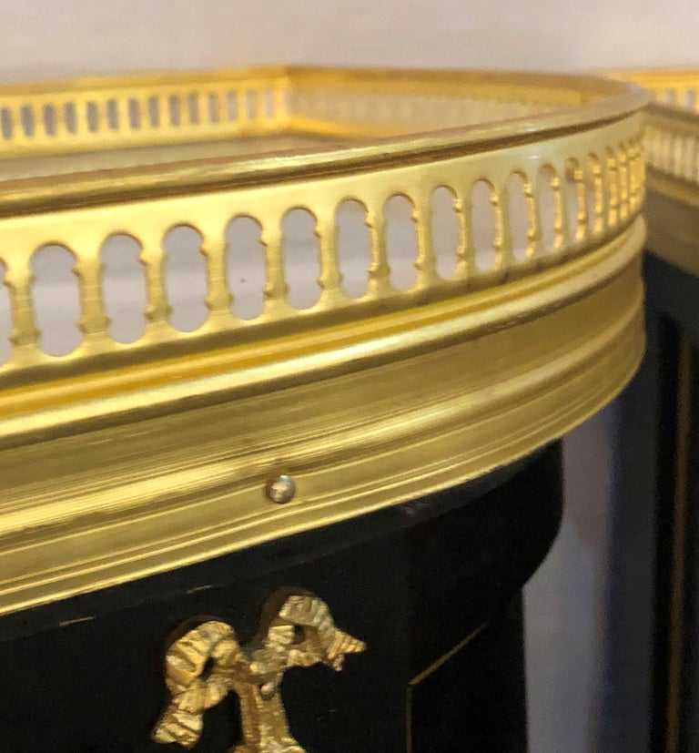 Pair of Jansen Inspired Marble-Top Galleried Ebonized End Tables / Nightstands  For Sale 4