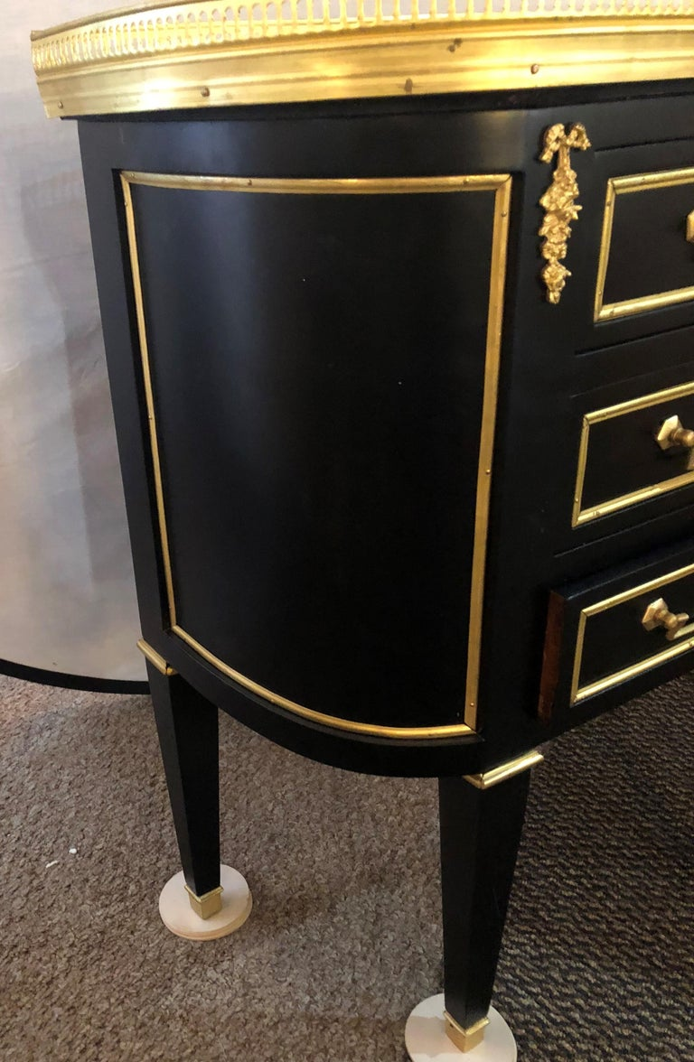 Pair of Jansen Inspired Marble-Top Galleried Ebonized End Tables / Nightstands  For Sale 7