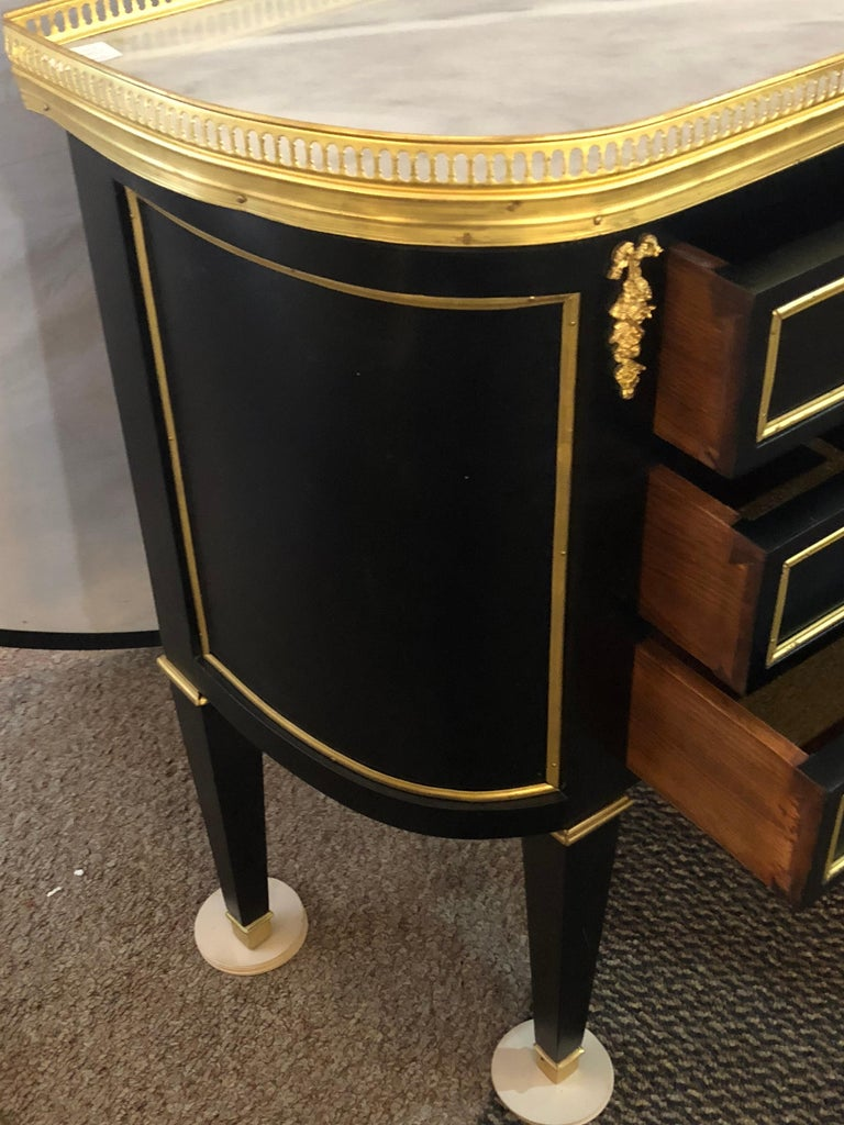 Pair of Jansen Inspired Marble-Top Galleried Ebonized End Tables / Nightstands  For Sale 1