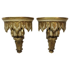 Pair of Jansen Rococo Style Painted and Gilt Brackets