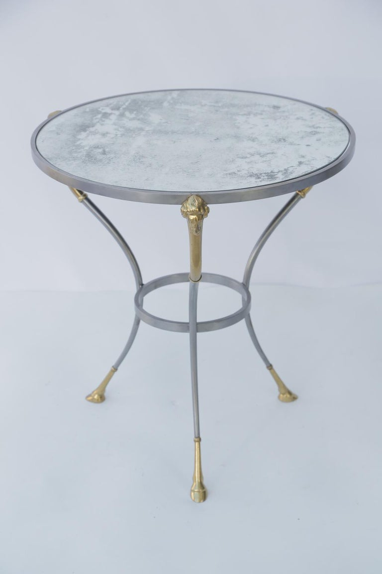 Pair of Jansen Style End Table with Mirrored Tops In Good Condition For Sale In West Palm Beach, FL