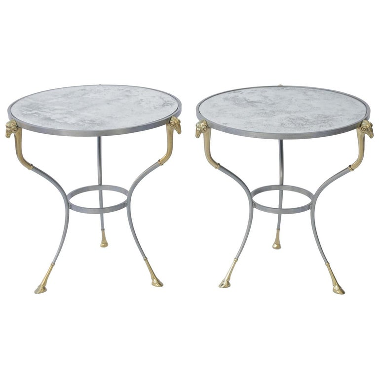 Pair of Jansen Style End Table with Mirrored Tops For Sale