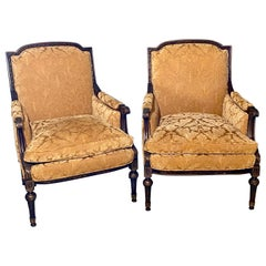 Pair of Jansen Style Fauteuils or Armchairs, Louis XVI Form with Velvet Fabric