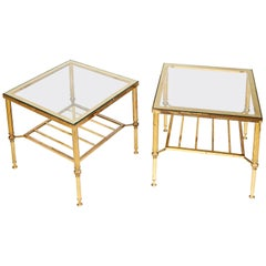 Pair of Jansen Style Glass and Gilt Metal Occasional Low Tables, 1960s