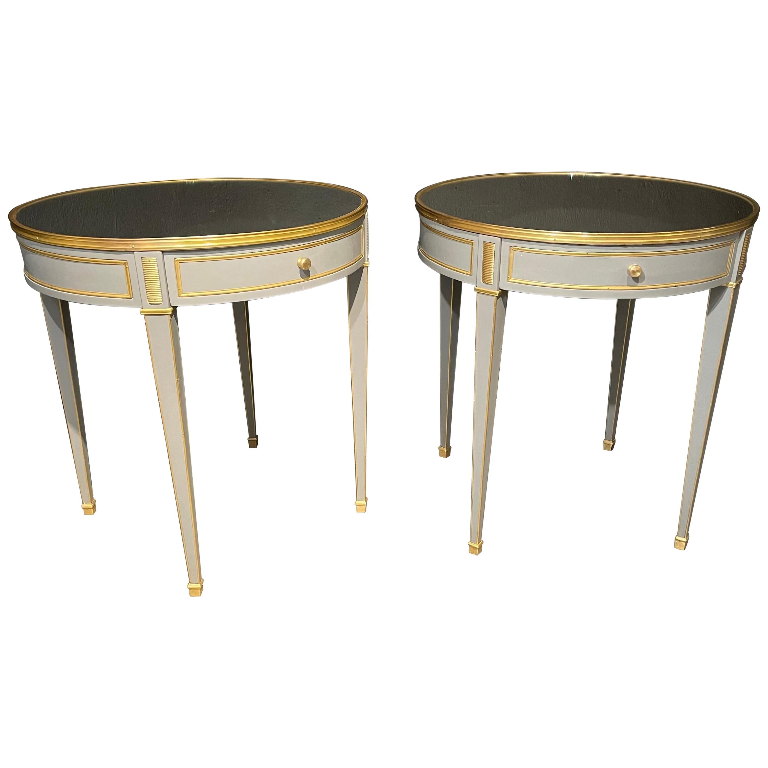 Pair of Jansen Style Painted End or Lamp Tables, Bouilliote Form