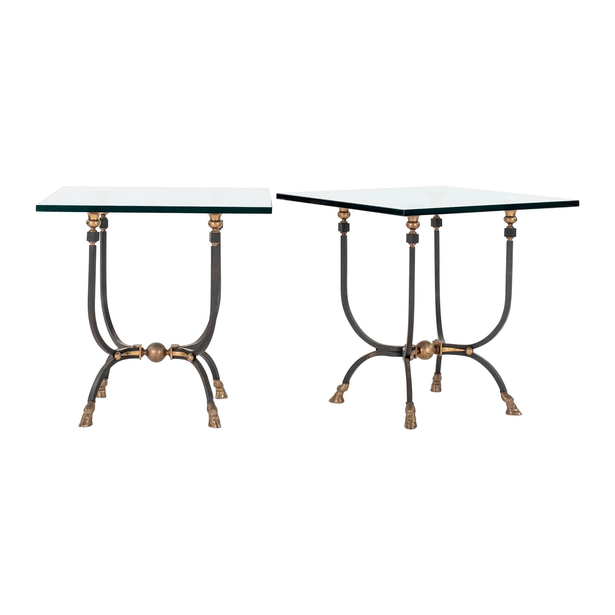 Pair of Jansen Style Steel Brass and Glass End Tables