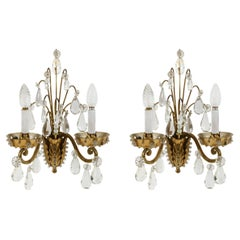 Pair of Jansen Style Two Arm Brass Sconces with Attached Crystals