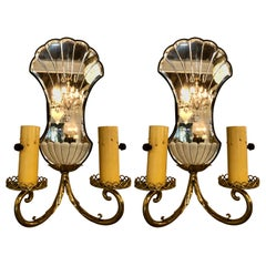 Pair of Jansen Wall Sconces, Hollywood Regency Era with Mirror Backs