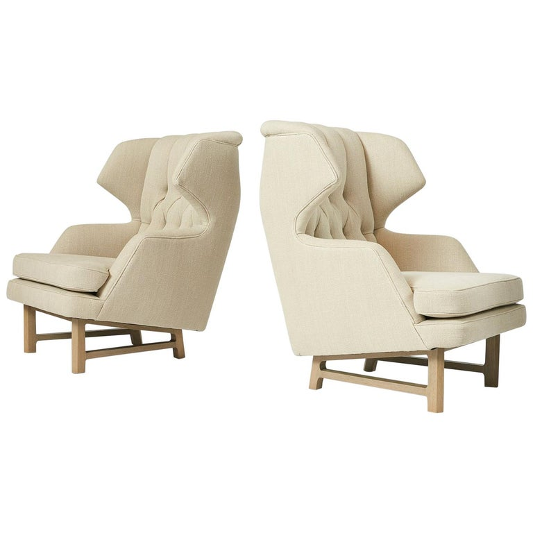 "Pair of ""Janus"" Wing Chairs by Edward Wormley For Sale"