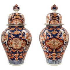 Pair of Japanese 19th Century Imari Lidded Urns